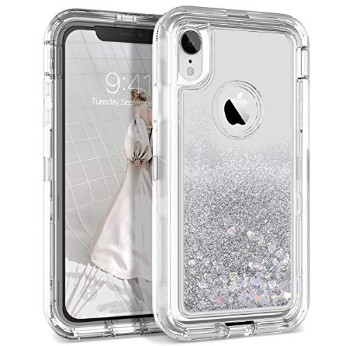 Dexnor Compatible with iPhone XR Case Hard Clear Glitter 3D Flowing Liquid Quicksand Cover TPU Silicone + PC 3 Layer Shockproof Protective Heavy Duty Defender Bumper Cute for Girls/Women - Silver ()