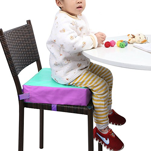 Zicac Kids' Dining Chair Heightening Cushion - Dismountable Adjustable Highchair Booster Cushion Washable Thick Chair Seat Pads Buckle Strap (Green)