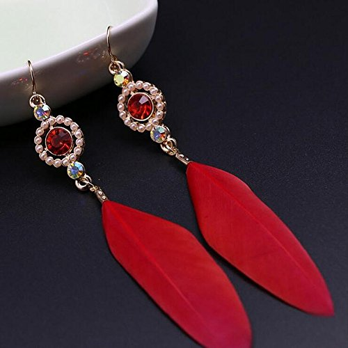 Nice A&C Fashion Bohemia Red Feather and Rhinestones Dangle Earring Jewelry for Women, Indiana Feather Ear Drop for Girls.