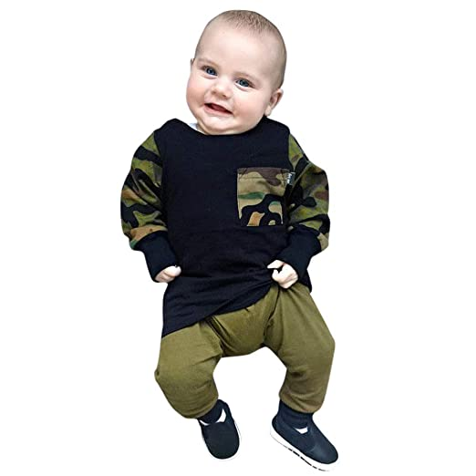 3939c714f076 Amazon.com  Tronet Kids Boys Girls Winter Camouflage Tops T-Shirt+ ...