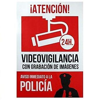Señal alarma conectada aviso policia PVC 21x30cm Rojo ...