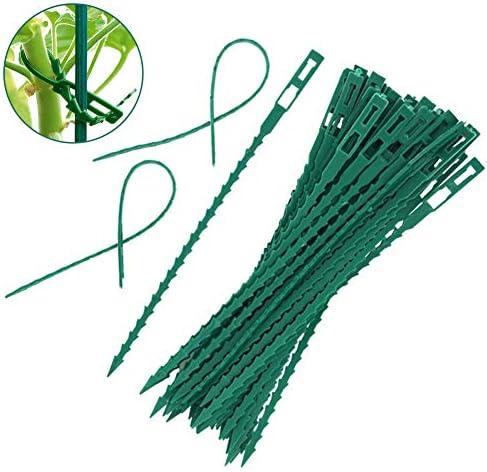 Garten Kabelbinder, 50 STK. Verstellbare Pflanzenbinder Flexible, grüne Multifunktions-Kunststoff-Kabelbinder aus Kunststoff für sichere Reben, die Unterstützung und Strukturen schaffen
