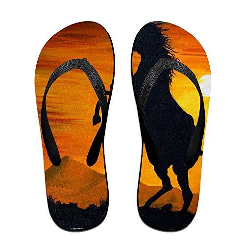 Flops Raising Painting Horse for Oil Kids Women Black Flip PTJHKET Men Slippers qgwRWHIF5n