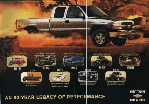 2000 CHEVROLET SILVERADO *1999 TRUCK OF THE YEAR* COLOR BROCHURE with FIRST 1949 MOTOR TREND ISSUE REPRINT - USA - EXCELLENT !! (Brochure Sales Silverado)