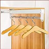 Adjustable Closet Rod Pull Out Retractable Wardrobe Clothing Storage Rail Nattork