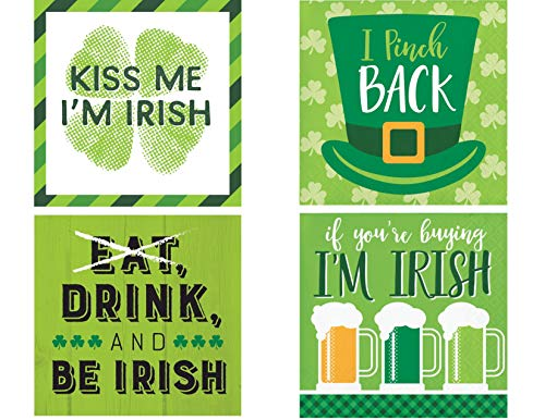 Funny St Patricks Day Cocktail Party/Beverage Napkin Bundle for 64 Guests - 4 Styles ()