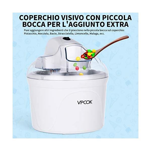 VPCOK Macchina del gelato 1,5L Gelatiera Autorefrigerante Macchina Gelato Macchina del Gelato con Bocca sul Grande… 5