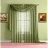 Warm Home Designs Pair of Standard Length Sage Green Sheer Window Curtains. Each Voile Drape Is 56 X 84 Inches in Size. Great for Kitchen, Living, Kids Room. 2 Fabric Panels Included. Color: Sage 84