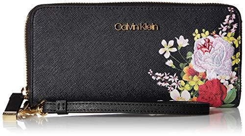 Calvin Klein Key Item Top Zip Novelty Wallet, black floral