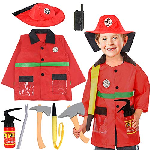 Dress Up Sale (Halloween Fireman Dress Up Set Fireman Jacket Fire Rxtinguisher and Tools Fire Fighter Outfit Pretend Role Play Firefighter Gifts for 3,4,5,6 Year)