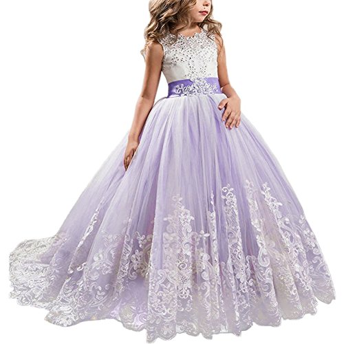 Little Big Girls' Flower Lace Princess Long Pageant Dresses Prom Tulle Ball Gown Wedding Bridesmaid Floor Length Dance Evening #A Lavender 10-11 Years