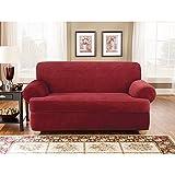 Sure Fit SF37946 3Piece Stretch Pique Slipcover - Garnet, Sofa
