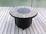 42'' Natural Slate and Copper Top Outdoor Round Propane Fire PIt Table- Bronze