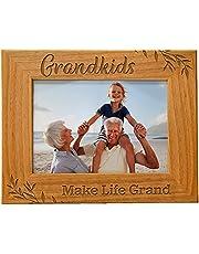 Grandkids Make Life Grand, Engraved Natural Wood Photo Frame for Grandparents, Grandparent's Day, Grandma Gift, Grandpa Gift