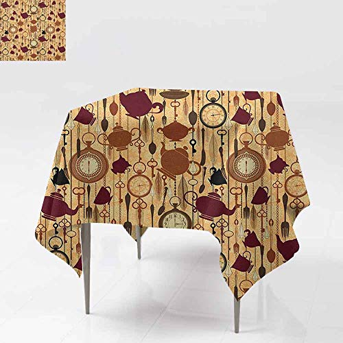 (AndyTours Waterproof Table Cover,Tea Party,Breakfast Time Items Teacup Forks Spoons Chain Together Victorian Style Print,Dinner Picnic Table Cloth Home Decoration,50x50 Inch Brown Redwood)