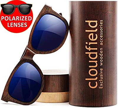Wood Sunglasses Polarized for Men and Women by CLOUDFIELD - Wooden Wayfarer Style - 100% UV 400 Protection - Premium Build Quality - Bamboo Wooden Frame - Perfect Gift