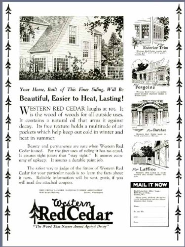 (1925 Advertisement for Western Red Cedar - Lumber for House Building Original Paper Ephemera Authentic Vintage Print Magazine Ad/Article)