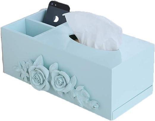 ENXING Cajas para pañuelos de Papel – Caja de pañuelos de Coche de Oficina hogar –Caja Rectangular de pañuelos de Madera – (Rosa Tallada), 31x13x12cm, Azul: Amazon.es: Hogar