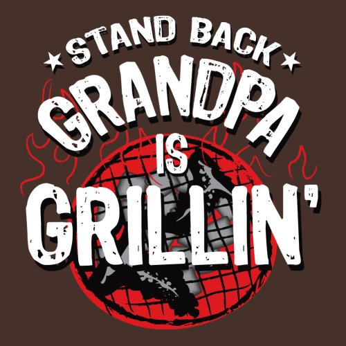Attitude Aprons Fully Adjustable ''Stand Back, Grandpa is Grillin'' Apron, Brown