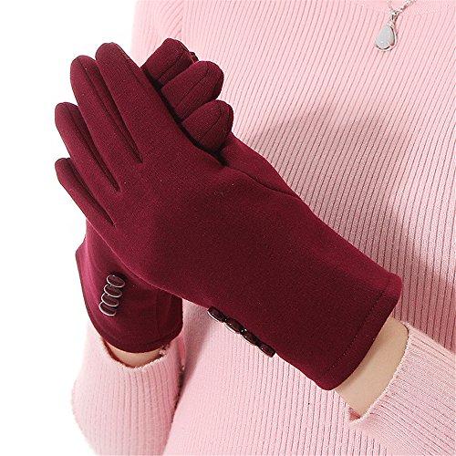 女性着 エレガント 冬着 ウォーマー手袋 ミトン 4ボタン付く タッチスクリーングローブ レッド