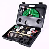 Goplus Gas Welding Cutting Torch Kit Portable Oxy Acetylene Oxygen Brazing Professional Tool Set Victor Type with Case and Hose