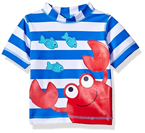 Little Me Children's Apparel Baby and Toddler Boys UPF 50+ Short Sleeve Rashguard Swim Shirt, Crab, 4T