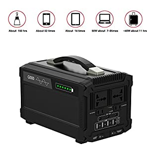 51eUJy75dDL. SS300  - 500W Portable Power Station Solar Generator Lithium 444Wh Home Backup Emergency Power Supply Charged by Solar Panel/ Wall Outlet/ Car Cigar with 110v AC Power Inverter for Camping Travel CPAP