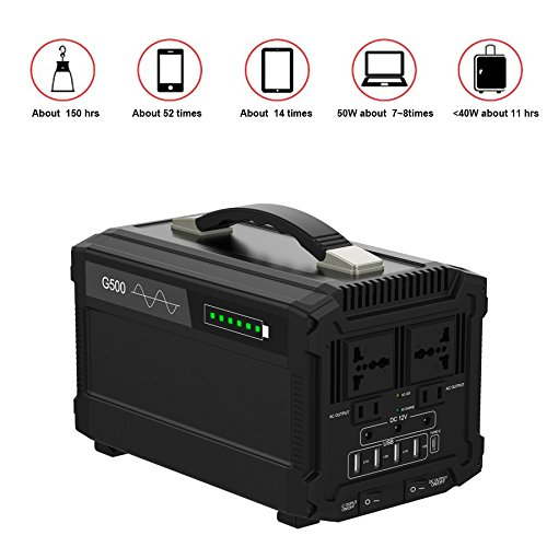 51eUJy75dDL - 500W Portable Power Station Solar Generator Lithium 444Wh Home Backup Emergency Power Supply Charged by Solar Panel/ Wall Outlet/ Car Cigar with 110v AC Power Inverter for Camping Travel CPAP