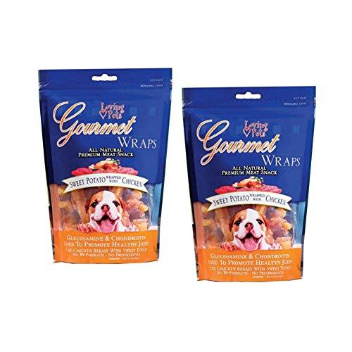 Loving Pets Gourmet All Natural Dog Treats | Premium Sweet Potato Dog Treats and Chicken Dog Treats | Glucosamine Chondroitin Dog Treats | 2 Packs, 8 Ounces Each | Glucosamine - Pets Loving Potato Sweet