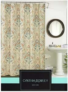Amazon Com Cynthia Rowley Ischia Paisley Fabric Shower Curtain In Shades Of Burnt Orange