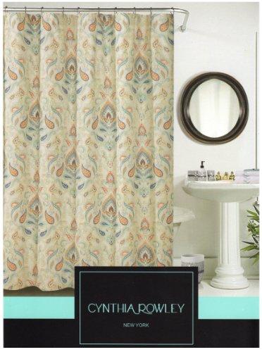 Amazon.com: Cynthia Rowley Ischia Paisley Fabric Shower Curtain In Shades  Of Burnt Orange, Seafoam Green, Aqua, Beige, White U0026 Grey: Home U0026 Kitchen  Cynthia Rowley Curtains