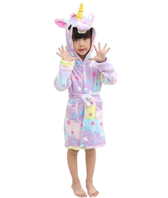 Hammia Ragazzi Ragazze Unicorno Con Cappuccio Accappatoio Kid Unisex Flanella Arcobaleno Stella Robe Animale Cosplay Cartoon Costume Homewear Pigiama per Ragazzo Ragazza