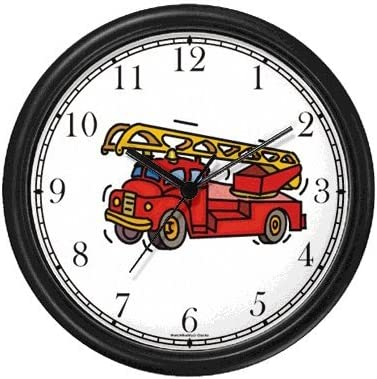 Red Fire Truck or Firetruck Wall Clock by WatchBuddy Timepieces White Frame