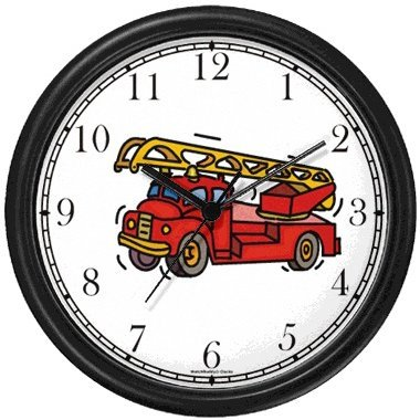 (Red Fire Truck or Firetruck Wall Clock by WatchBuddy Timepieces (White Frame))
