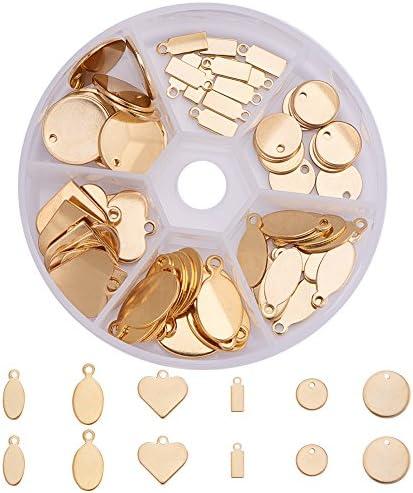 PH PandaHall 約72個/箱 6種 304 ステンレス 刻印タグ 名札 カン付き ペンダント チャーム ラベル 円形・しずく形・楕円形・心形・長方形など アクセサリートップ DIY用品 ジュエリー用 アクセサリーパーツ ゴールド