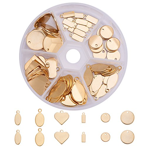 PandaHall Elite 72 Pcs 304 Stainless Steel Flat Blank Stamping Tag Pendants Charms 6 Styles for Jewelry Making Golden