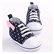Save Beautiful Toddler Baby Girls Polka Dots Shoes Infant First Walkers (6-12months, White1)
