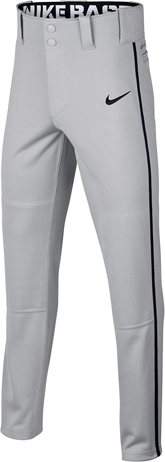 Nike Boys' Swoosh Piped Dri-FIT Baseball Pants (Grey/Black, XS) by Nike