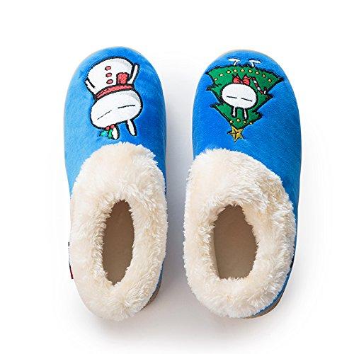 LaxBa Glisser sur lhiver au chaud en Fausse Fourrure Chaussons neige bordée Chaussures pour hommes bleu,270 pour 43 mètres -44 mètres de pieds)