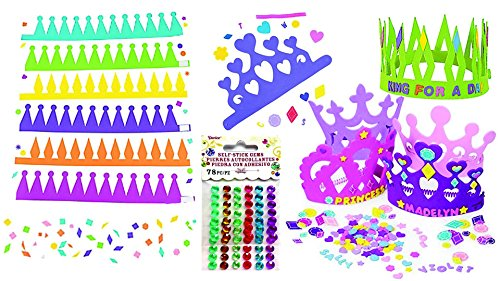 Disney Foamies (Princess Foam Tiara Kit for 12 & Prince Foam Crown Kit for 12, Birthday Party Craft Activity or Favor Set, Over 900 Self-Adhesive Shapes, Letters and 156 Gems to Decorate)