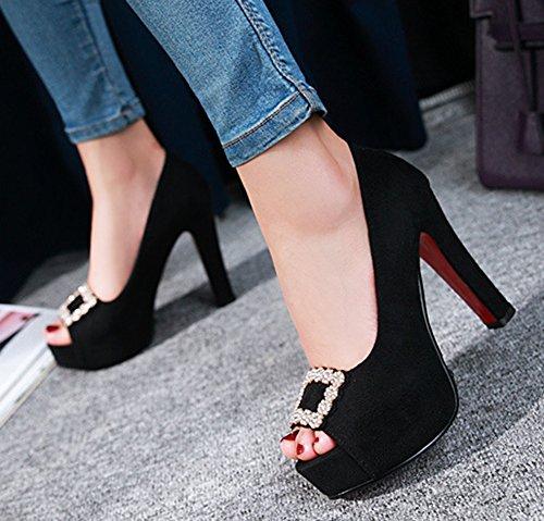 Noir Talon Aisun Toe Peep Sexy Sandales Bloc Femme Hq014T6