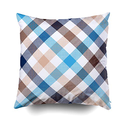 otton Square Pillow Case Covers with Zippered Closing for Home Sofa Decor Size 16X16 inch Costom Pillowcse Throw Cover Cushion Blue Beige Diagonal Check Fabric ()