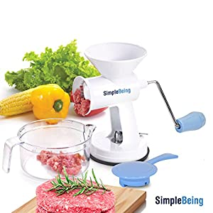 Simple Being Manual Meat Grinder Set with Stainless Steel Blades and Powerful Suction Base, All Purpose Heavy Duty Kitchen Mincer for Vegetable Garlic