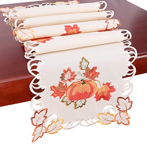 Simhomsen Thanksgiving Harvest Pumpkins Table Runners for Autumn Or Fall Decorations (14 × 90 Inch) by Simhomsen (Image #1)