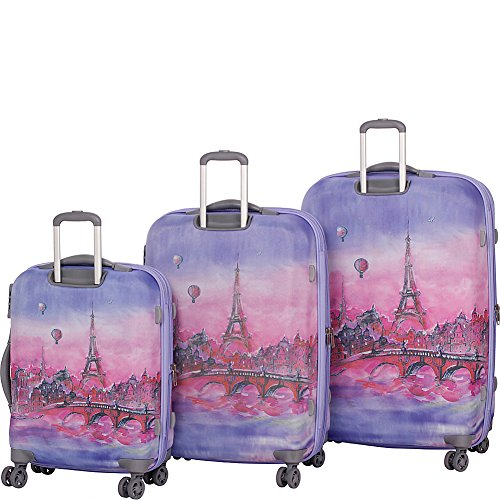 It Luggage Ionian Classic 8 Wheel Paris Baloons 3 Piece Set Lilac Paris Painting Balloons Buy