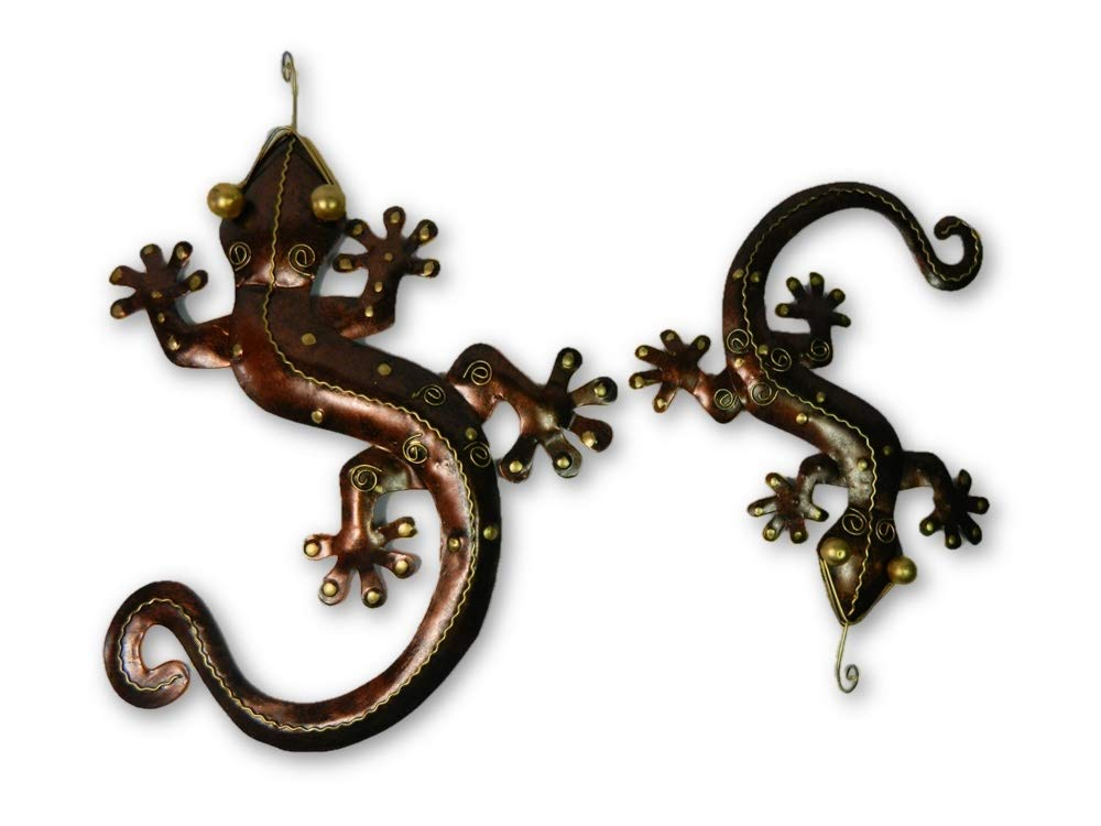 2 WOODEN GECKO/'S ~ HANDMADE GARDEN LAST 3 SETS! FOR INDOOR,OUTDOOR WALL