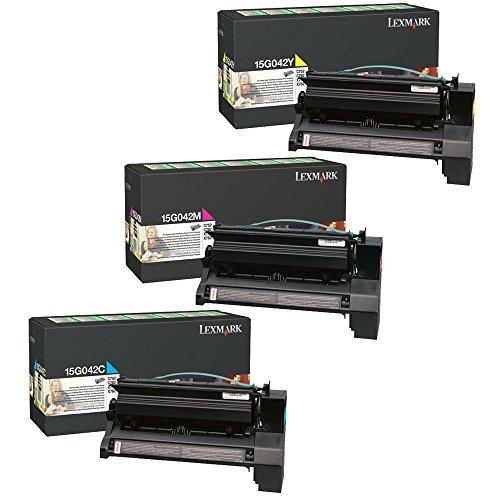 Lexmark 15G042C, 15G042M, 15G042Y High Yield Toner Cartridge Set Colors Only (CMY)