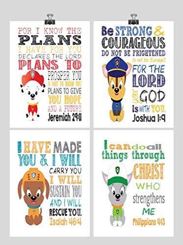 paw-patrol-nursery-decor-art-print-set-of-4-chase-marshall-rocky-and-zuma-bible-verse-multiple-sizes
