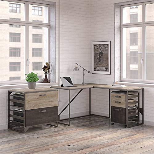 Bush Furniture Refinery 50W L Shaped Industrial Desk with 37W Return and File Cabinets in Rustic Gray
