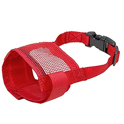 TOOGOO(R) Dog Pet Anti Bark Red Chew Mesh Muzzle Mask Size S